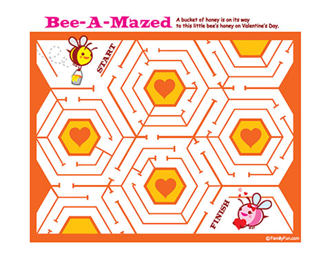 Printable Bee Maze for Valentine's Day Activity by Family Fun Magazine