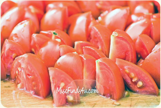 Chopped tomatoes for fresh summer salad