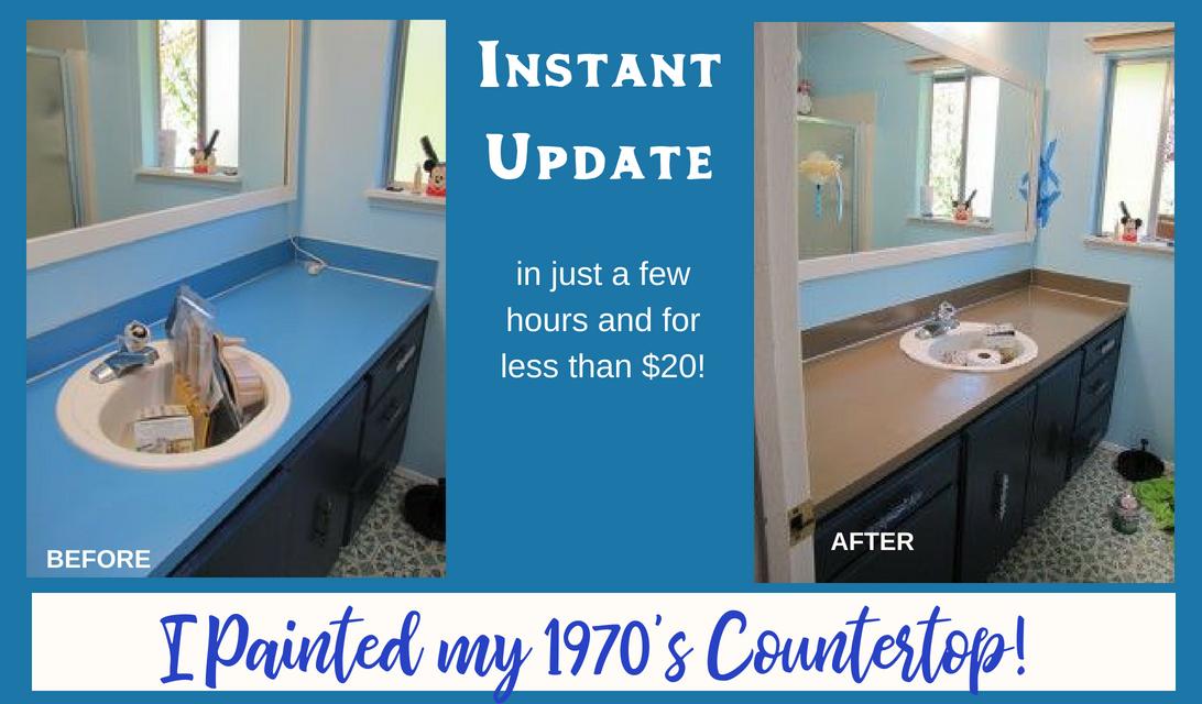 Instant Bathroom Update - Paint Your Bathroom Countertop for under $20