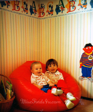 Brian's 1989 room decorated in a Sesame Street theme.