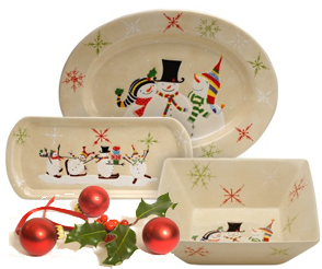 Adorable and Affordable Snowmates Holiday Dinnerware From Oneida