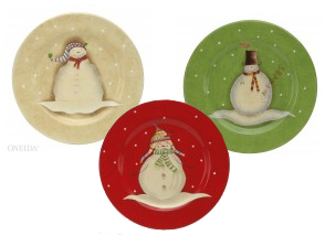 Oneida Snowmates Plates come two shapes - these make perfect cookie platters