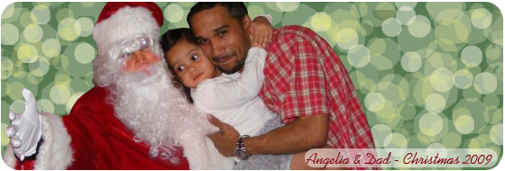 Angelina and Dad, Christmas 2009, age 2