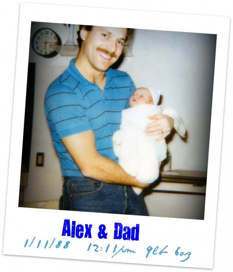 Alex and Dad on the day he was born 1/11/88