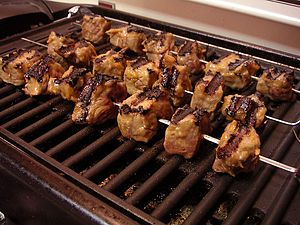 Brochettes made of metal.