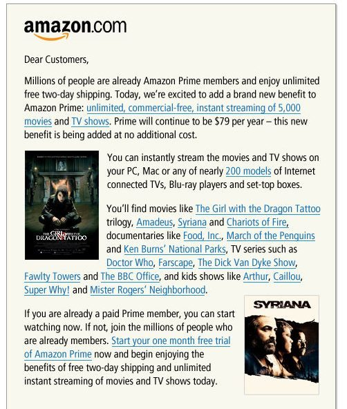 Amazon Announement of Streaming Video upgrade to their popular Amazon Prime Program