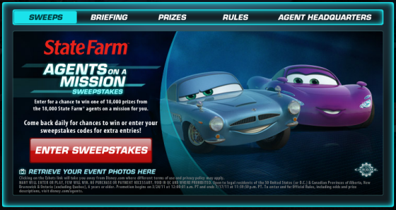 Enter the Cars 2 State Farm Sweepstakes
