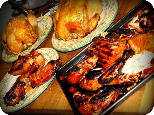 Five of the twelve chickens - baked and grilled in terriyaki sauce - they're not burned, really!