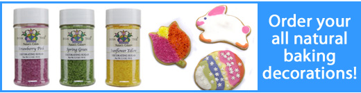 Natural Baking Products - Natural Decorator Sprinkles and Food Coloring NO artificial colors or dyes, NO artificial flavors, NO artificial sweeteners, NO preservatives, and NO hydrogenated oils!