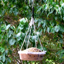 Homemade bird feeder from found and recycled items