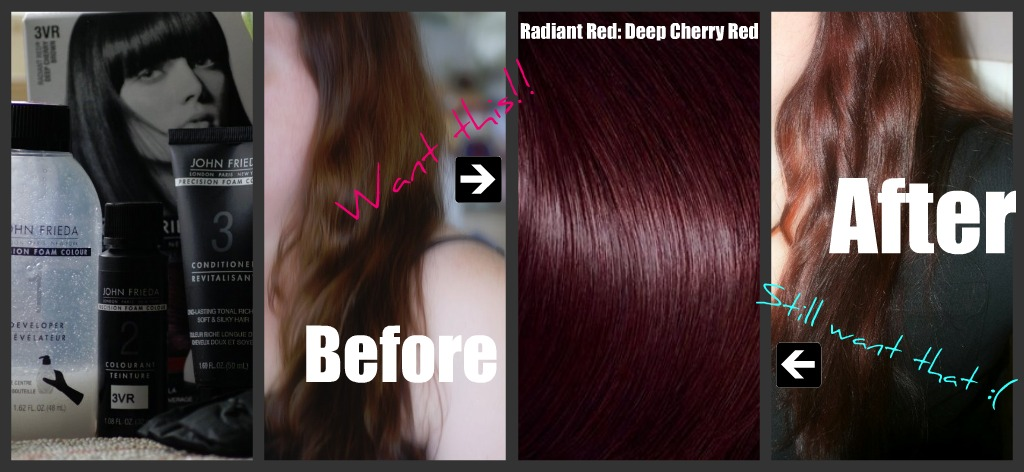 My hair before and after John Frieda Foam Hair Colour