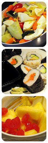 Today's Food - Sushi, salad, and fresh pineapple with marashino cherries