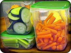 Precut veggies ready for the fridge for instant snacking