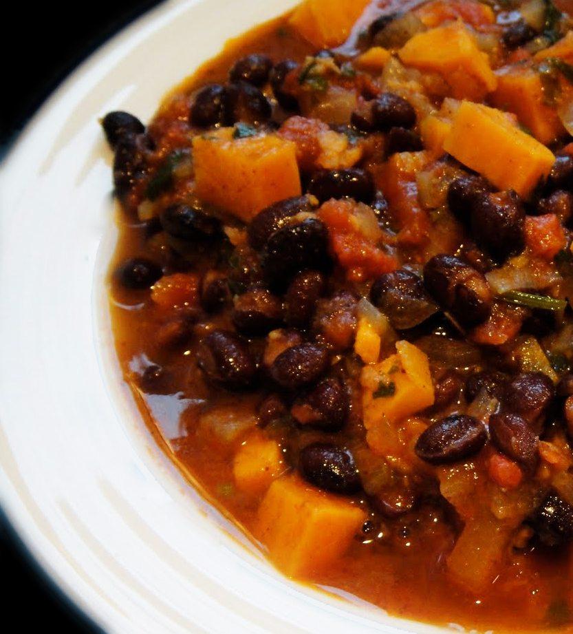 Meatless Vegetarian Black Bean and Sweet Potato Chili