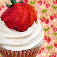 Light Strawberry Shortcake Cupcakes with Strawberry Gelee Filling