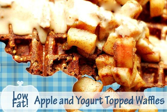 High Fiber Low Fat Apple and Yogurt Topped Waffles Recipe