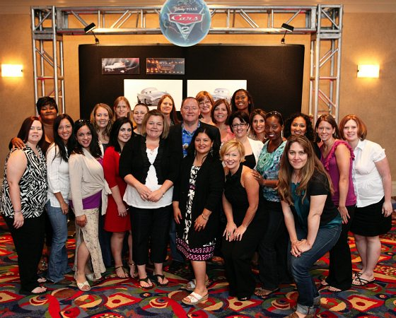 John Lasseter and a group of mommy bloggers at the Cars 2 global press junket at Renaissance Hollywood Hotel on June 18, 2011 in Hollywood, Calif. (Photo by Deborah Coleman / Pixar)