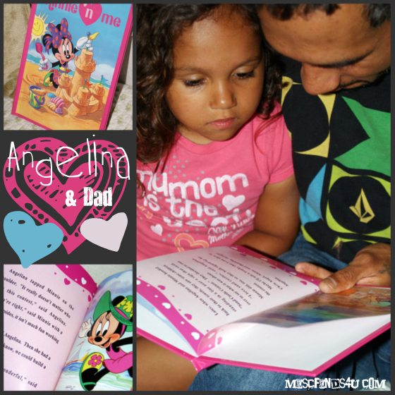 Angelina and Dad Enjoying her personalize kids book