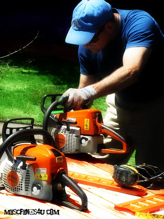 The hubby and his two Stihl Chainsaws