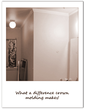 Adding white crown molding to the bathroom to pop off the Martha Stewart Spring Melt walls