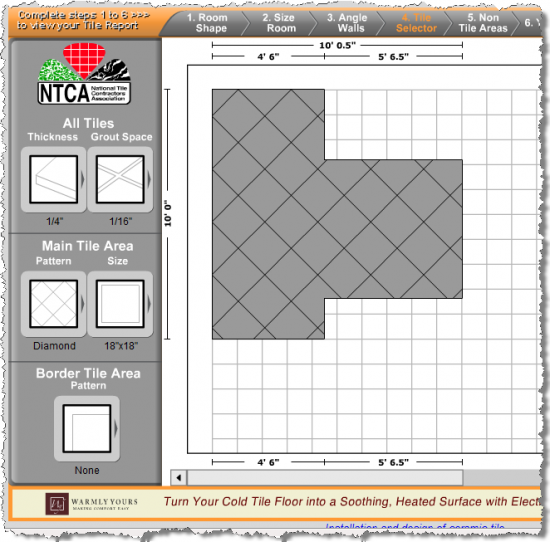 Bathroom tiles online tile estimator tool makes tiling easy for Tile floor layout tool