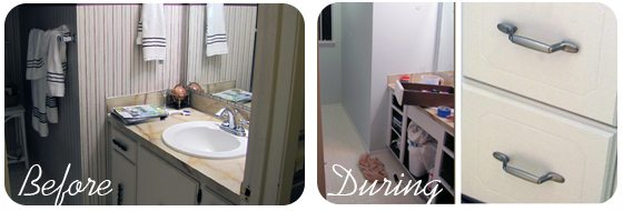 Bathroom remodel - before and during