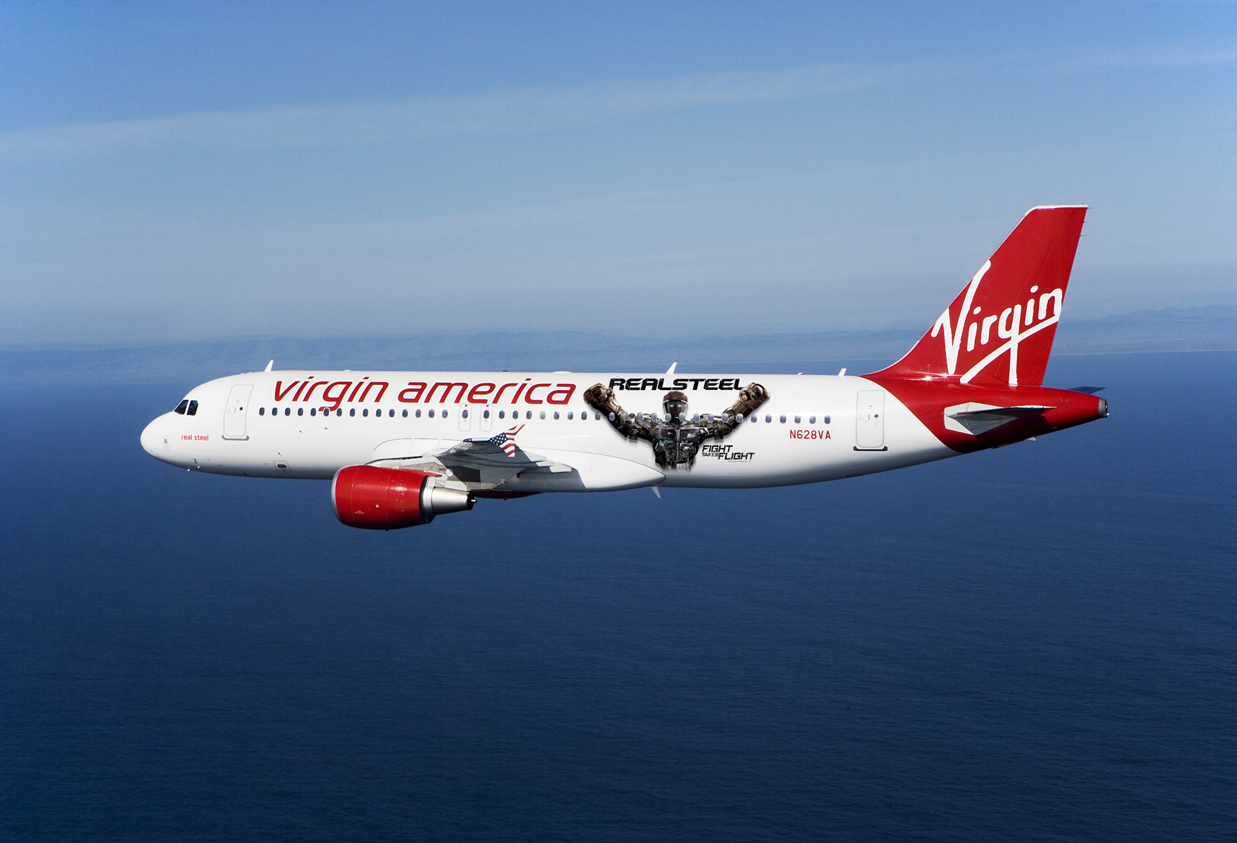 "Virgin America DreamWorks ""Real Steel"" Airplane"