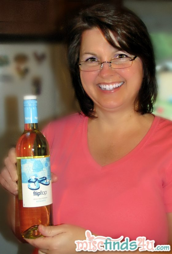 My sister Judy with our bottle of flipflop wine
