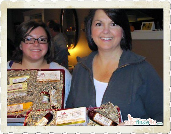 Judy and Laura checking out the Hickory Farms goodies before the party