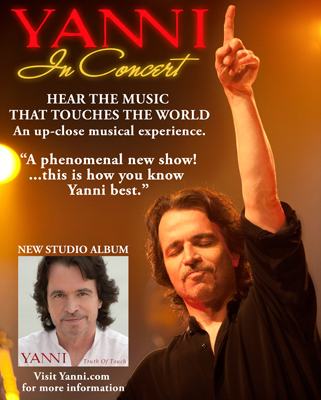 Yanni 2011 Tour Information and Dates and CD Review