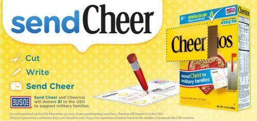 Cheerios sendCheer Military thanks program
