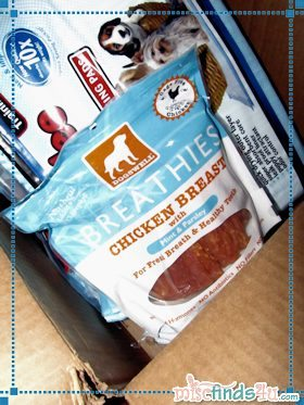 A dog's dream....a whole box of his favorite treats..... a pet owner's dream....treats that curb dog breath!