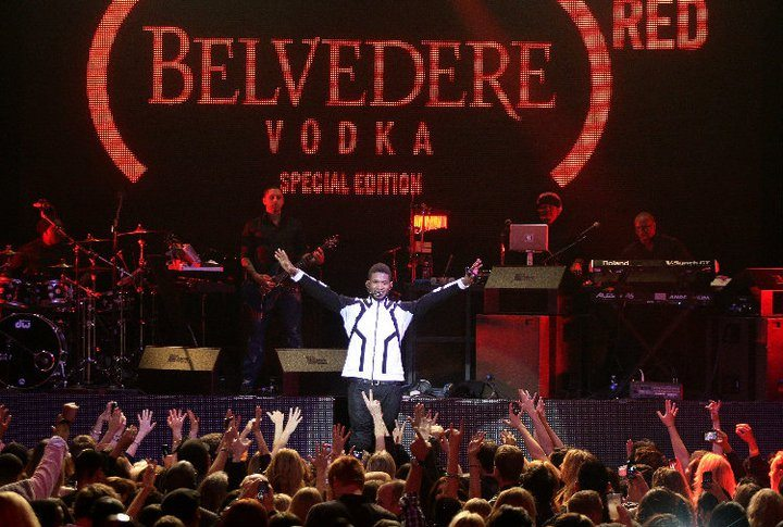 Usher performing at the (Belvedere)RED launch party at the Avalon in L.A.