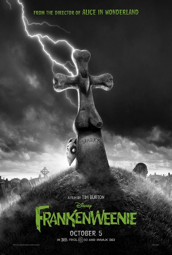 Tim Burton's FRANKENWEENIE - black & white animated stop-motion 3D movie in theaters in time for Halloween 2012