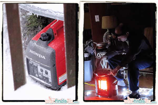 Our generator and cooking on the portable heater inside the house