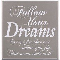 Follow your Dreams except for the one where you fly.  That never ends well.