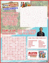 Free printable maze and word search featuring your favorite Chimpmunks!