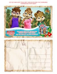 Alvin and the Chimpmunks free downloadable and printable postcards