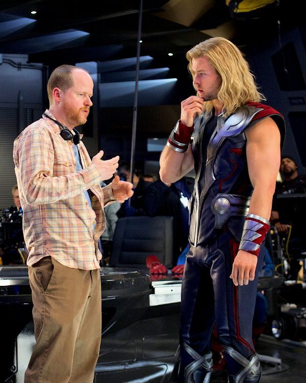 Director Joss Whedon and Chris Hemsworth  (Thor) behind-the-scenes of Marvel's AVENGERS