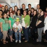 """Jason Segel and Nicholas Stoller (center back) and with Disney's """"mommy and daddy"""" bloggers in LA"""