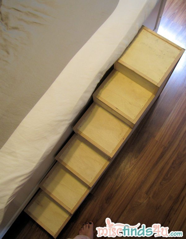 A look at the new do-it-yourself handyman special wooden pet steps (unfinished).