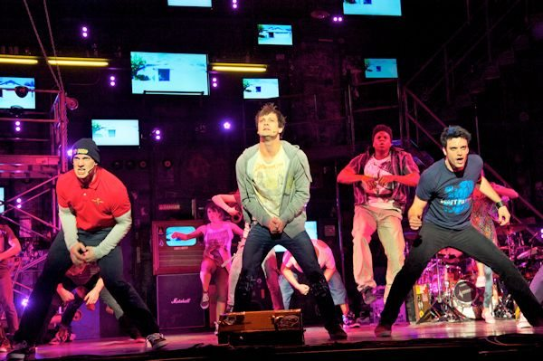 Scott J. Campbell (Tunny), Van Hughes (Johnny) and Jake Epstein (Will) in AMERICAN IDIOT (Photo by Doug Hamilton)