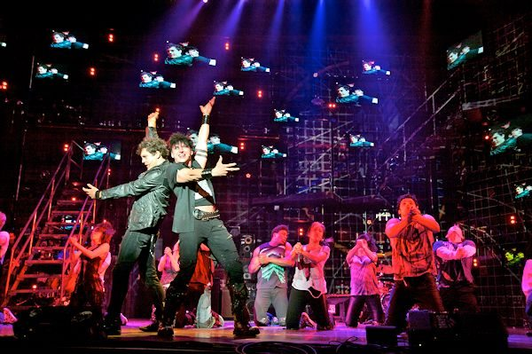 Van Hughes (Johnny), Joshua Kobak (St. Jimmy) and the company of AMERICAN IDIOT (Photo by Doug Hamilton)