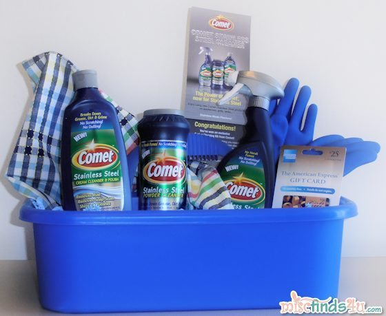 Win this cleaning caddy filled with Comet Stainless Steel Cleaning Products and a $25 gift card
