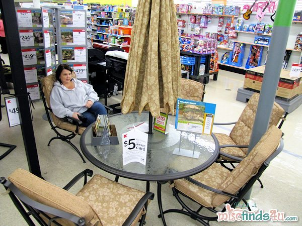 Judy checks out one of the Jacklyn Smith patio sets on sale at Kmart