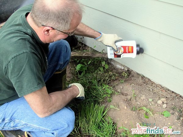 Easy work treating the foundation of several homes with the ant bait granuals