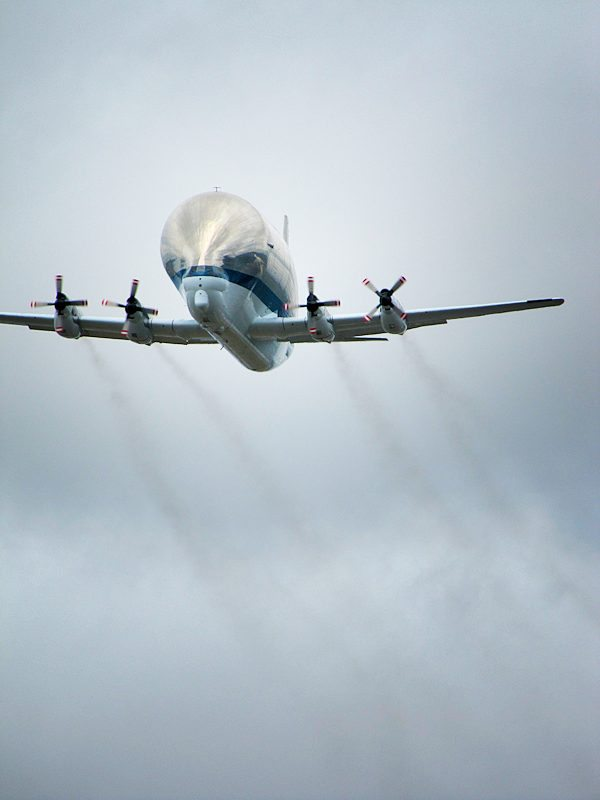 NASA Super Guppy airplane flys over Seattle, WA 6/30/2012