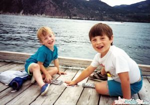 The boys playing games on the dock at Lake Chelan, Wa