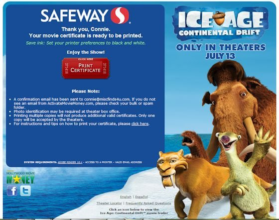Ice Age 4 Ticket Redemption - so easy!
