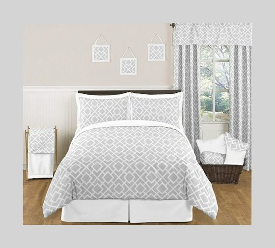 Beyond Bedding Gray and White Diamond Modern Contemporary 3pc Bedding Set